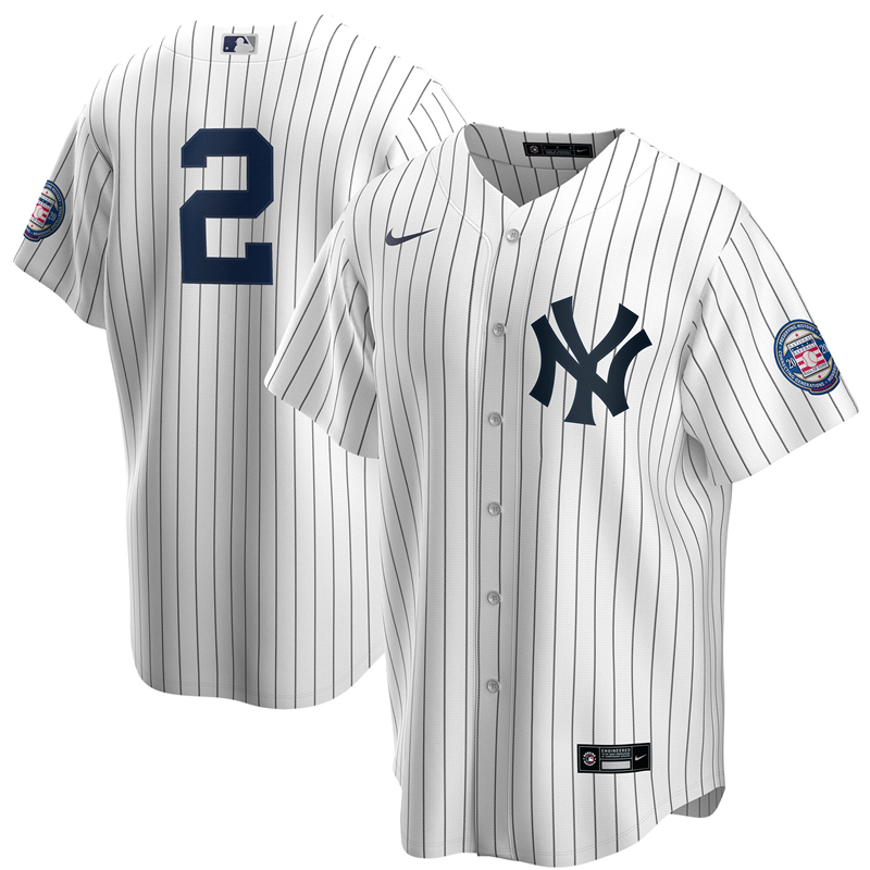 2020 MLB Men New York Yankees 2 Derek Jeter Nike White Navy 2020 Hall of Fame Induction Replica Jersey 1